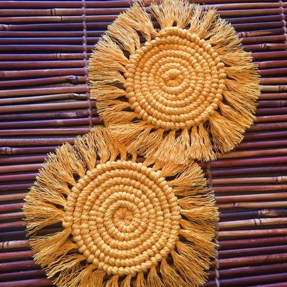 None Other - Golden Yellow Macrame Coasters Set of 2